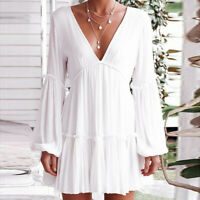 Women Sexy V-Neck Dresses Ladies Loose Casual Long Sleeve Beach Party Mini Dress