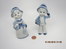 VINTAGE Pair FIGURINE Porcelain Boy with BOOK & Girl with FAN&POUCH Blue&White