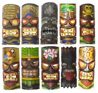 Set of 10 Polynesian Hawaiian Tiki Style Wall Masks Island Tropical Tribal Wood