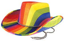 Regenbogen Cowboy Hut NEU - Karneval Fasching Hut Mütze Kopfbedeckung