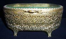 Antique Victorian Gold & Beveled Glass Footed Jewelry Case Casket Cherubs flower