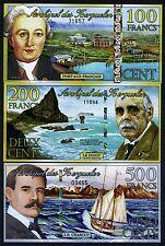 Juego Kerguelen Island, 100; 200; 500 2011-2012, Polymer UNC Gatos