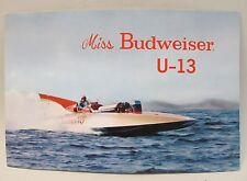 large 1965 MISS BUDWEISER U-13 promo postcard hydroplane boat racing