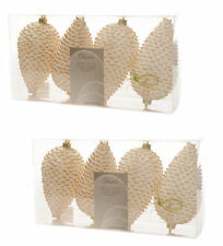 8 x Ivory & Gold Pinecone Baubles Hanging Decorations Christmas tree Baubles