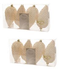 8X Marfil y Oro Piña Bolas Decoración para Colgar Árbol de Navidad Bolas