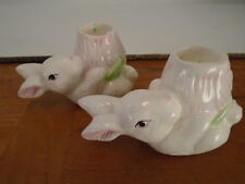 Bunny Rabbit Candle Holders Candleholders Set of 2 Nobel Hall Easter Spring Pair