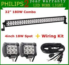 32INCH 180W PHILIPS LED LIGHT BAR Spot Flood Offroad Truck SUV ATV 4WD+Wires+18W