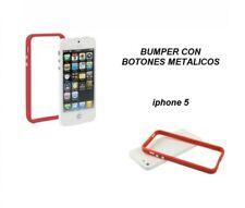 FUNDA CARCASA BUMPER PARA IPHONE 5 / 5S GEL TPU BOTONES METALICOS Rojo