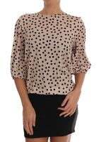 NEW $600 DOLCE & GABBANA Blouse T-shirt Beige Polka Dot Silk Top IT50 /US16 /XXL