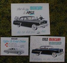 1952 Mercury Monterey Brochure 3 pc Lot 52