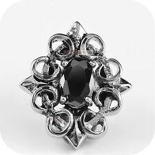 vintage silver style stud stainless steel crystal single earring black