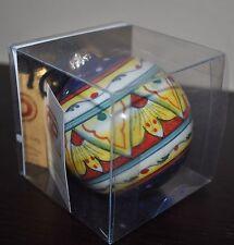 NEW GP DERUTA ROUND BALL Majolica Cobalt Yellow CERAMIC Certificate Box