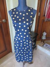 d7f2074c1b27 Women s Anne Klein Sleeveless Knee Length Dress Navy Blue Polka Dot NWOT ...