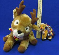 Vintage Christmas Hallmark Rascal The Reindeer Plush & Rudolph Clip Plush Lot 2