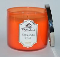 BATH & BODY WORKS GOLDEN AMBER OAK SCENTED CANDLE 3 WICK 14.5OZ LARGE WHITE BARN