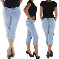 Damen Capri 3/4 Jeans Shorts Bemuda Kurze Hüft Stretch 7/8 Hose Hüftjeans Blau