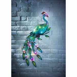 Outdoor Peacock Wall Art 12 Multi Coloured LED Light Solar Powered Gems Deco254
