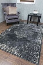 Traditional Rug Classic Timeless Vintage Faded Oriental Design Grey Charcoal