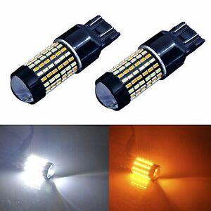 2pcs 120-SMD 7443 Super White Yellow LED Switchback Turn Signal Light Bulbs