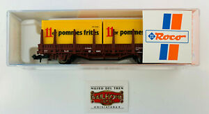 577. ROCO N 25265.3 - VAGÓN TELEROS 2 EJES CON CONTENEDORES RENFE POMMES FRITES