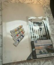 Art Kit Canvas 4 Paints and Brushes Draw Creative Supplies Sketch Paint Oil