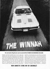 """1963 Chevrolet Corvette Split-Window Coupe photo """"THE WINNAH"""" vintage print ad"""
