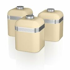 Swan SWKA1020CN Set of 3 Retro Storage Canisters, Cream