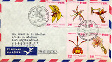 Perú 1971, Peruvian Flora - Orchids, First Day Postmark, pink stamps