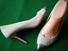 LADIES  WITCHERY MUSHROOM SUEDE LEATHER SILVER POINT HEEL SHOES SIZE 9 / 40