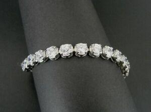 Bracelet Round Stones Cubic Zirconia Tennis Link Sterling Silver 925 BRACELET