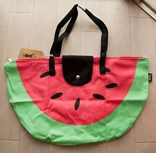 cotton on fabric foldable novelty tote shopper bag green red watermelon