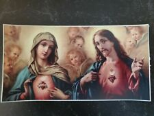 Car Bumper Sticker Vinyl in Color Sacred Heart and Immaculate Heart