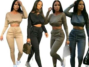 Ladies Co ord Crop Top Bottoms Set Womens Loungewear Two Piece Suit Tracksuit