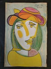 PABLO PICASSO        DRAWING SIGNED  WATERCOLOR ON  PAPER .
