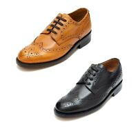 Lucini Mens Smart Casual Leather Lace Up Brogue Boots Weddings Party Shoes