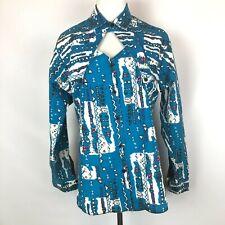 Vintage Women's The Look 1990s Western Cutout Button Front Shirt Size L