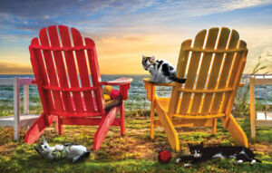 CAT NAP AT THE BEACH by Celebrate Life Gallery - SunsOut 1000 piece puzzle - NEW