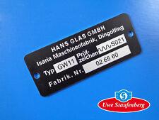 Typenschild Schild Goggomobil Goggo Hans Glas GmbH für Heizungsteil Auspuff