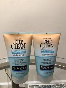 2 pk Neutrogena Deep Clean LongLast Shine Control Face Exfoliating Scrub 4.2oz