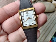 """Skagen Denmark Steel Watch Rectangle Face Formal white and black leather band 8"""""""