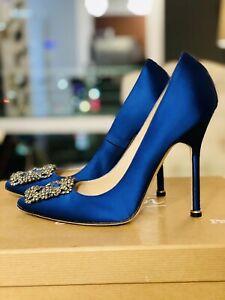 Manolo Blahnik Hangisi Satin High Heel Royal Blue Shoes Sz IT 36 US 6