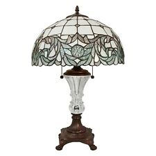 "Tiffany Style Handcrafted White Table Lamp 16"" Shade"