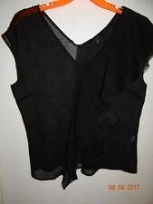 BANANA REPUBLIC Size M Short Sleeved Blouse Black Sheer Textured FREE SHIPPING