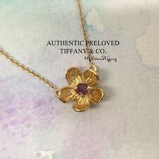 Vintage RARE Excellent Tiffany & Co. Tourmaline Mini Flower Gold Necklace