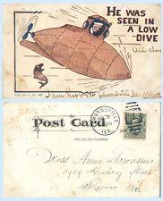 Submarine Low Dive Among the Fish Comic Card UDB 1907 Ship Postcard