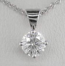 0.40ct Diamond & Platinum Solitaire Pendant Certified D IF Exc Brilliant & Chain