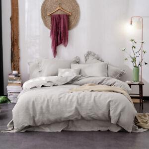 Linen Quilt Cover Set,100%  French Linen Doona Cover Set bedding Queen King
