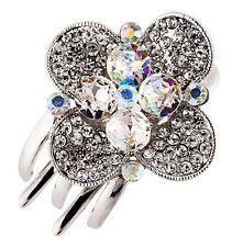 Hair Clip Claw using Swarovski Crystal Hairpin Flower Bridal wedding Silver AB 3