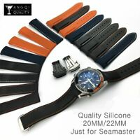 Watchband 18/20/22/24mm Silicone Rubber Watch Strap Band Replacement Belt Curved