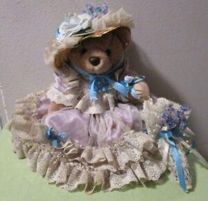Vintage Bearly People Plush Stuffed Bear 14 Inches Lace Purple Dress Parasol